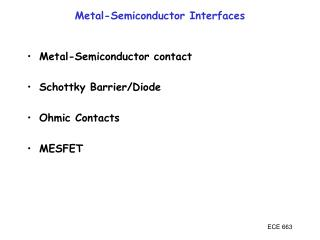 Metal-Semiconductor Interfaces