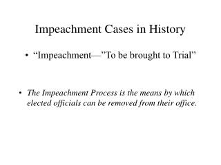 Impeachment Cases in History