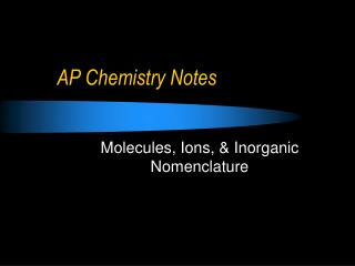 AP Chemistry Notes