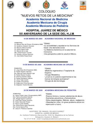 """COLOQUIO """" NUEVOS RETOS DE LA MEDICINA """" Academia Nacional de Medicina"""