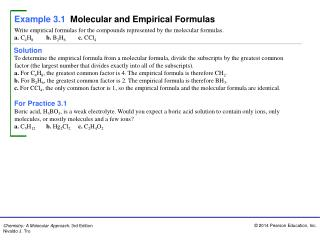 Example 3.1 Molecular and Empirical Formulas