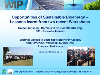 Opportunities of Sustainable Bioenergy –  Lessons learnt from two recent Workshops