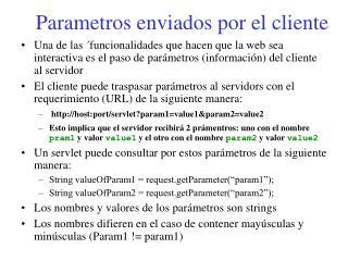Parametros enviados por el cliente