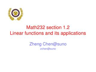 Math232 section 1.2  Linear functions and its applications