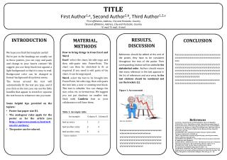 TITLE First  Author 1,a , Second Author 2,b ,  Third  Author 1,2,c