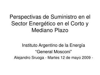 Perspectivas de Suministro en el Sector Energético en el Corto y Mediano Plazo