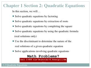 Chapter 1 Section 2: Quadratic Equations