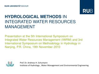 HYDROLOGICAL METHODS  IN INTEGRATED WATER RESOURCES MANAGEMENT