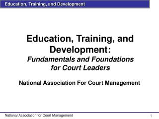 Education, Training, and Development: Fundamentals and Foundations for Court Leaders
