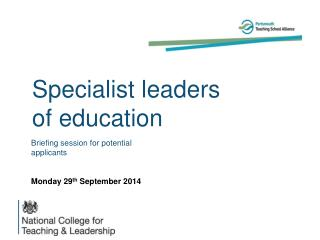 Specialist leaders of education