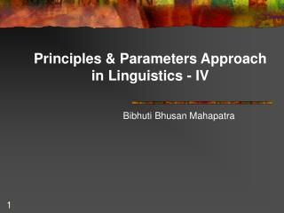 Principles & Parameters Approach in Linguistics - IV