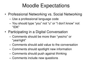 Moodle Expectations
