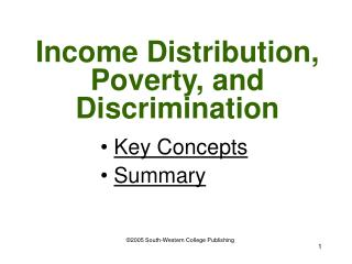 Income Distribution, Poverty, and Discrimination