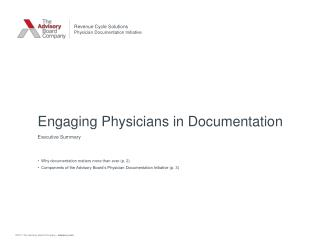 Engaging Physicians in Documentation