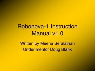 Robonova-1 Instruction Manual v1.0