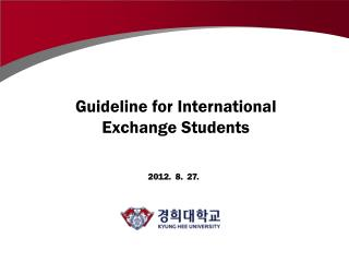 Guideline for International Exchange Students