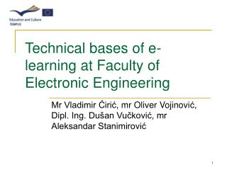 Technical bases of e-learning at Faculty of Electronic Engineering