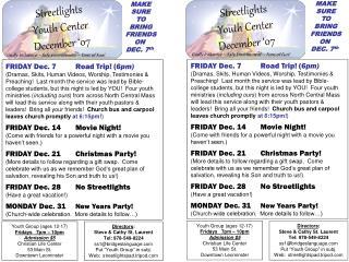 Streetlights  Youth Center December �07