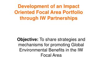 Development of an Impact Oriented Focal Area Portfolio through IW Partnerships