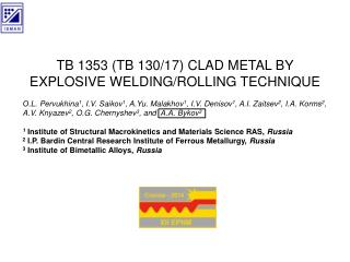 TB 1353 (TB 130/17) CLAD METAL BY EXPLOSIVE WELDING/ROLLING TECHNIQUE