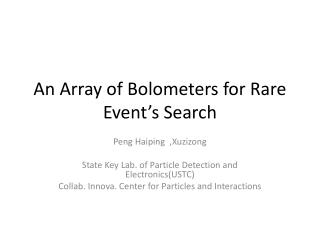 An Array of Bolometers for Rare Event's Search
