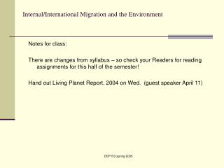 Internal/International Migration and the Environment