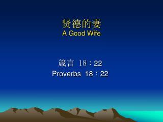 ????  A Good Wife