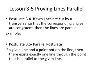 Lesson 3-5 Proving Lines Parallel