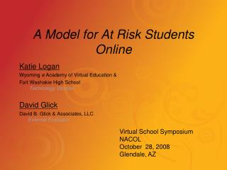 A Model for At Risk Students Online