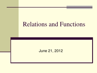 6.1 Relations and Functions