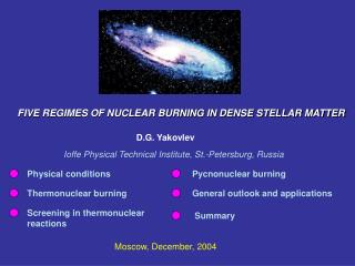 FIVE REGIMES OF NUCLEAR BURNING IN DENSE STELLAR MATTER