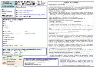 Bulletin d'adhésion 2014 – 2015 ou 2015