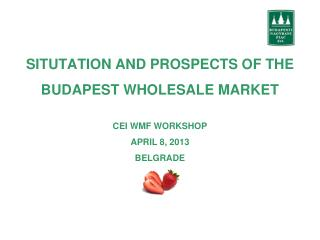 SITUTATION AND PROSPECTS OF THE BUDAPEST WHOLESALE MARKET CEI WMF WORKSHOP APRIL 8, 2013 BELGRADE