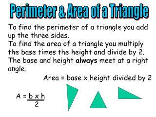 Perimeter & Area of a Triangle