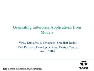 Generating Enterprise Applications from Models