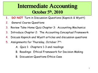 Intermediate Accounting October 5th, 2010