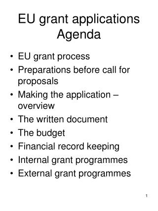 EU grant applications Agenda