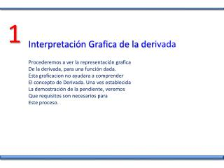 Interpretación Grafica de la der ivada Procederemos a ver la representación grafica