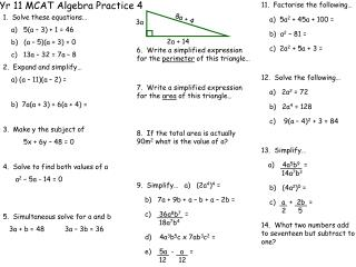 Yr 11 MCAT Algebra Practice 4