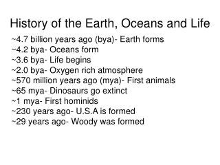 History of the Earth, Oceans and Life