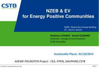 Matthieu COSNIER - Daniel QUENARD Direction  Energie Environnement CSTB Grenoble
