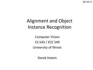 Alignment and Object Instance Recognition