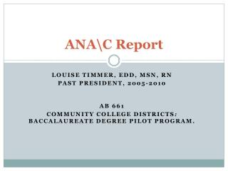 ANA\C Report