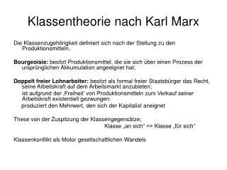 Klassentheorie nach Karl Marx