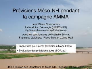 Prévisions Méso-NH pendant la campagne AMMA