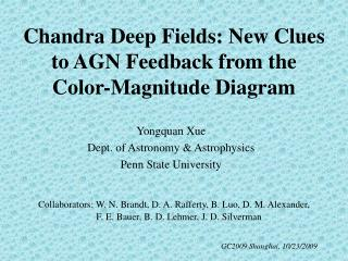 Chandra Deep Fields: New Clues to AGN Feedback from the Color-Magnitude Diagram