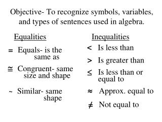 Objective- To recognize symbols, variables,  and types of sentences used in algebra.