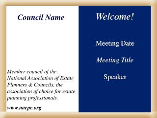 Meeting Date Meeting Title Speaker