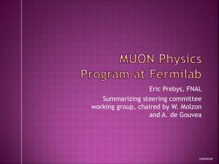 MUON Physics Program at Fermilab