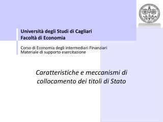 Universit� degli Studi di Cagliari Facolt� di Economia